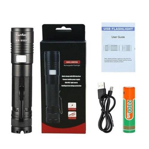Lanterna LED Supfire A5, 300lm, 200M incarcare USB, Negru [1]