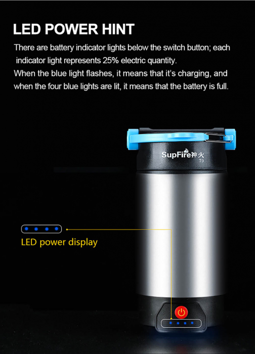 Lanterna LED SupFire T9, Pentru Camping, 800 lm, incarcare USB, PowerBank [8]