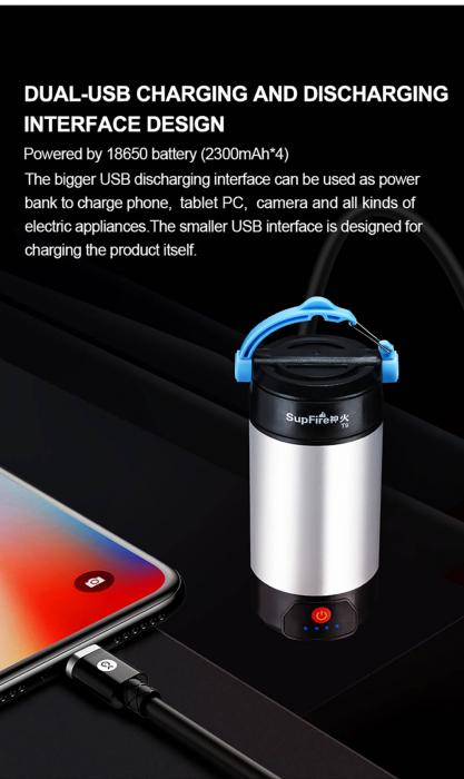 Lanterna LED SupFire T9, Pentru Camping, 800 lm, incarcare USB, PowerBank [10]