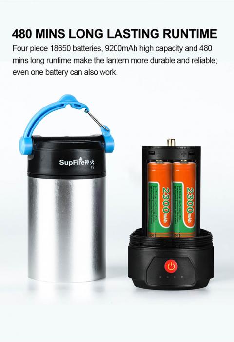 Lanterna LED SupFire T9, Pentru Camping, 800 lm, incarcare USB, PowerBank [9]