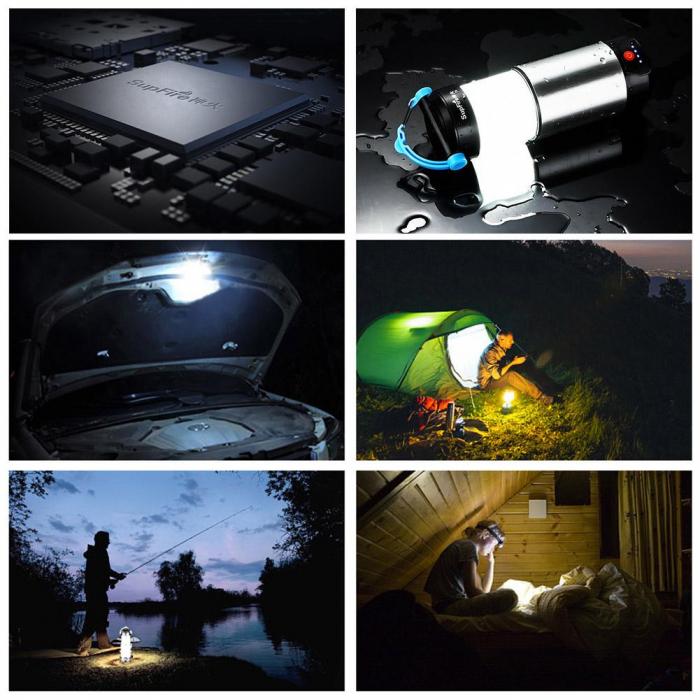 Lanterna LED SupFire T9, Pentru Camping, 800 lm, incarcare USB, PowerBank [2]