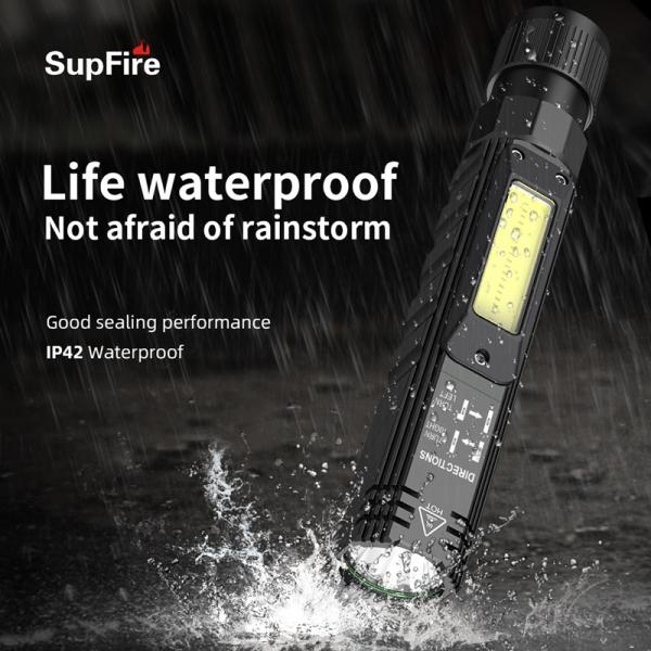Lanterna Multifunctionala LED Supfire G19, USB, 500lm, 200m, incarcare USB, lumina rosie, suport cap, prindere magnetica [8]
