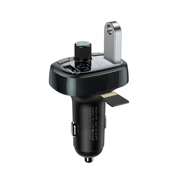 Modulator FM Baseus FM T-Type Bluetooth MP3 incarcator masina Negru 0