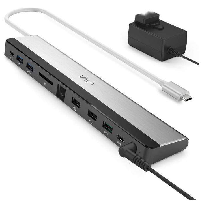 Adaptor 10 porturi Docking Station VAVA VA-DK002, Ethernet, SD Card, USB, QC, PD, pentru MacBook Pro si USBC [0]