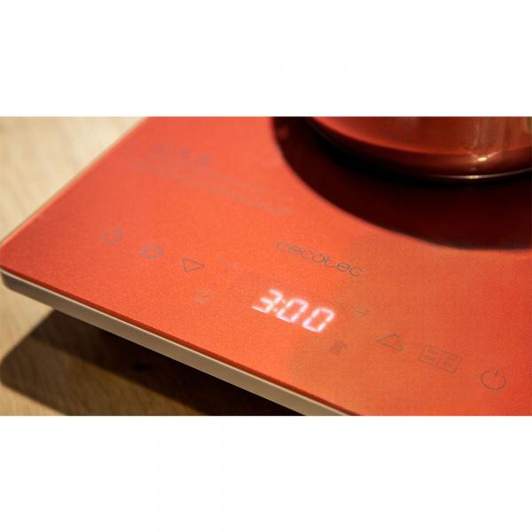 Plita cu inductie Cecotec Full Crystal Scarlet, 2000W, Touch control, 2000W, cu ecran digital, control tactil, 10 niveluri, Rosu [8]