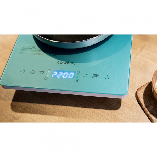 Plita cu inductie Cecotec Full Crystal Scarlet, 2000W, Touch control, 2000W, cu ecran digital, control tactil, 10 niveluri, Albastru 6