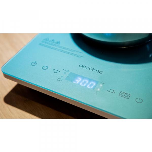 Plita cu inductie Cecotec Full Crystal Scarlet, 2000W, Touch control, 2000W, cu ecran digital, control tactil, 10 niveluri, Albastru 7