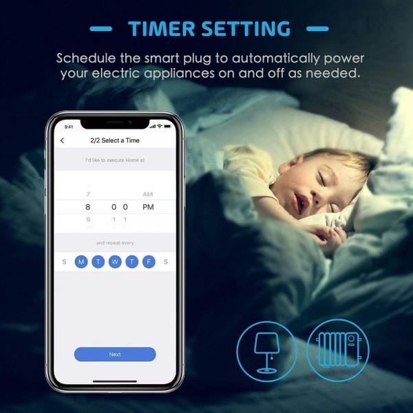Prelungitor smart WiFi Meross MSS425F, 4 Prize, 4 x USB, Cablu 1.8m, Alexa, Google Assistant 6