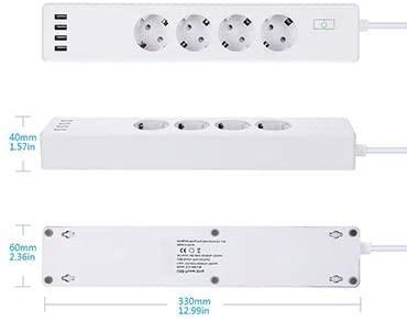 Prelungitor smart WiFi Meross MSS425F, 4 Prize, 4 x USB, Cablu 1.8m, Alexa, Google Assistant 2