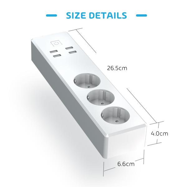 Prelungitor smart WiFi Meross MSS42E, 3 Prize, 4 x USB, Cablu 1.8m, Alexa, Google Assistant 1
