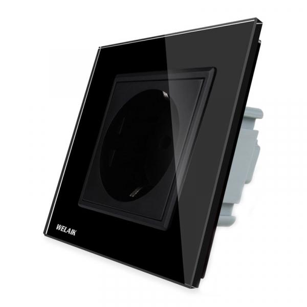 Priza simpla de perete Welaik cu rama din sticla, Negru 0