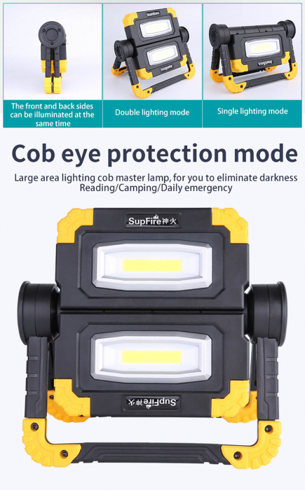 Proiector LED portabil SupFire G7, 20W, 2000lm, reincarcabil, COB, Acumulator 5000mAh [6]
