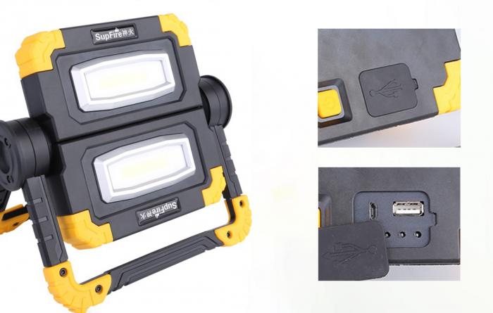 Proiector LED portabil SupFire G7, 20W, 2000lm, reincarcabil, COB, Acumulator 5000mAh [3]