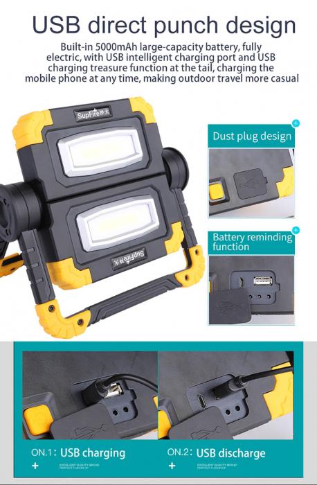Proiector LED portabil SupFire G7, 20W, 2000lm, reincarcabil, COB, Acumulator 5000mAh [8]