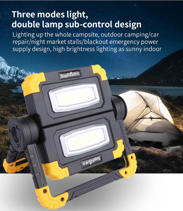 Proiector LED portabil SupFire G7, 20W, 2000lm, reincarcabil, COB, Acumulator 5000mAh [9]
