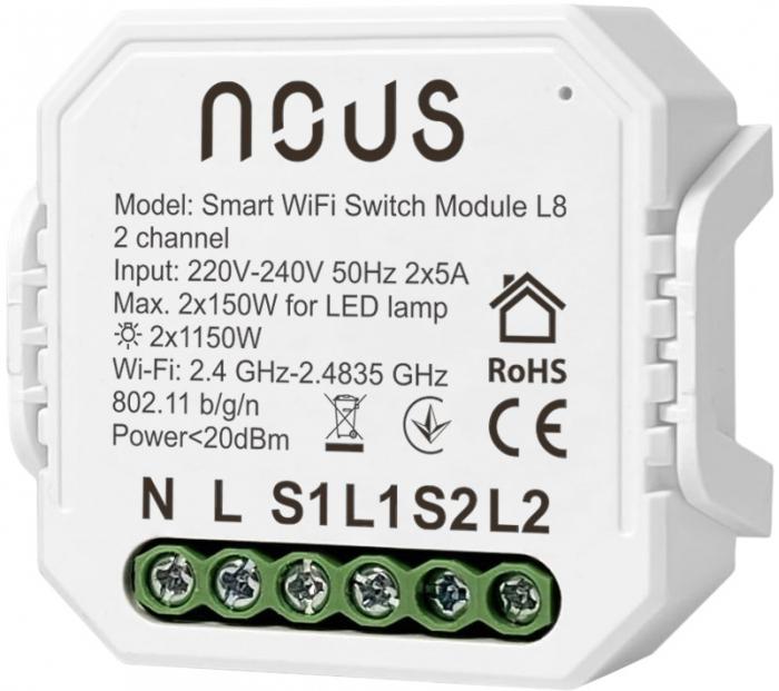 Releu wireless Nous L8, 2 canale, 2*5A, Smart, Control din aplicatie [0]