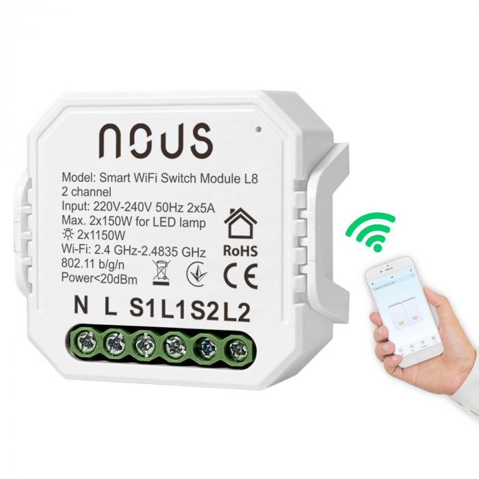 Releu wireless Nous L8, 2 canale, 2*5A, Smart, Control din aplicatie [1]