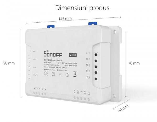 Releu Wireless Sonoff 4CHR3, 4 canale, Alexa / Google Home [5]