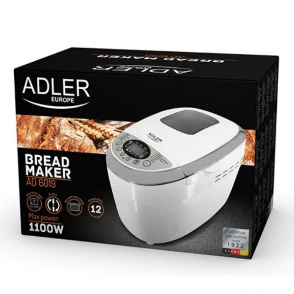 Masina de paine ADLER AD 6019,gluten free, 2 palete framantare, 1100 W, 1250 g, 12 Programe, afisaj LCD, Alb 5
