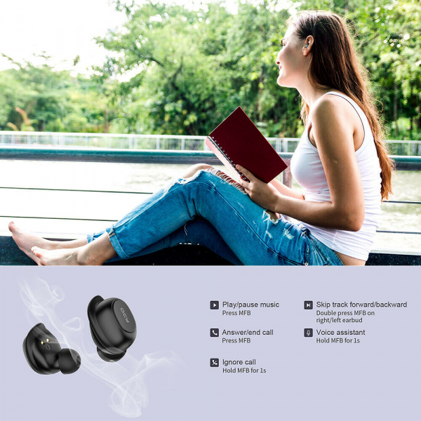 Casti audio In-Ear QCY T9S TW, Bluetooth 5.0,  TWS, True Wireless 5