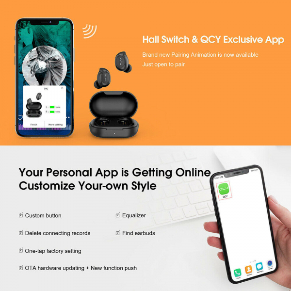 Casti audio In-Ear QCY T9S TW, Bluetooth 5.0,  TWS, True Wireless [7]
