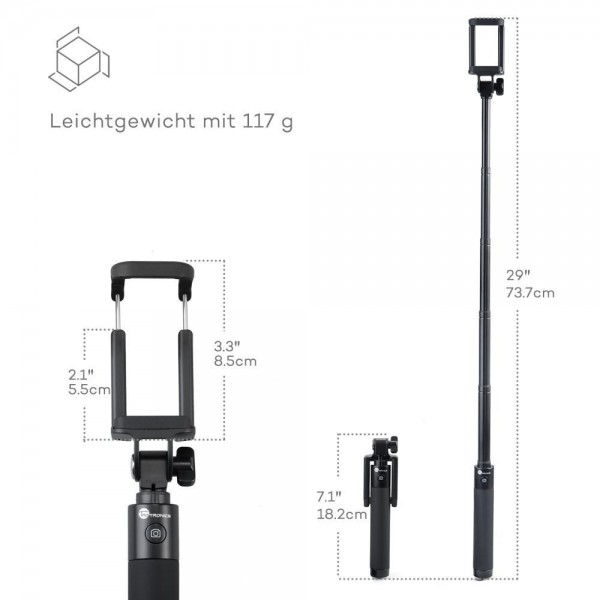 Selfie Stick TaoTronics TT-ST001 cu Bluetooth din aluminiu 5