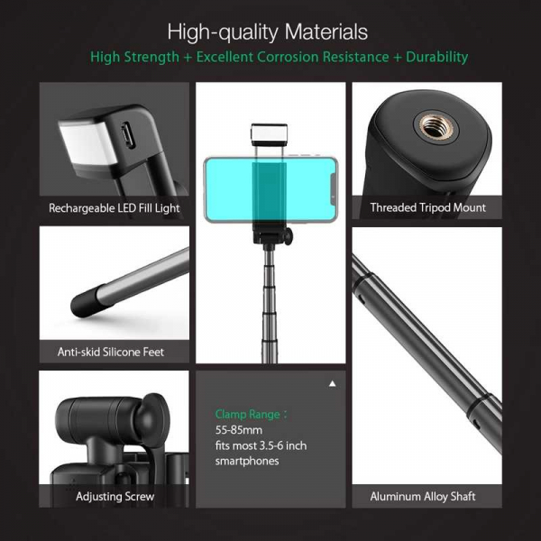 Selfie Stick Tripod BlitzWolf 3 in 1 cu  Lanterna LED si telecomanda detasabila - BW-BS8 [6]