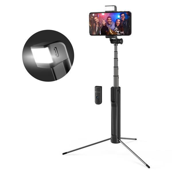 Selfie Stick Tripod BlitzWolf 3 in 1 cu  Lanterna LED si telecomanda detasabila - BW-BS8 [9]