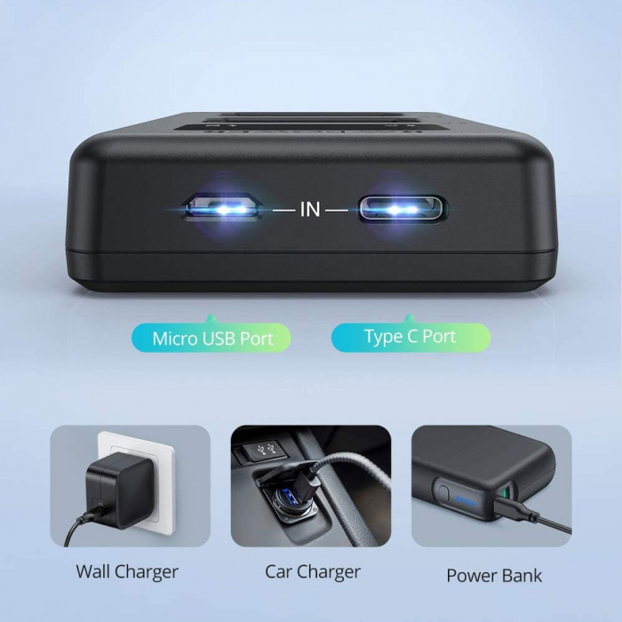 Set 2 acumulatori NP-FW50 cu incarcator RAVPower RP-PB056, pentru camere Sony NEX-3, NEX-3N, NEX-5, NEX-5C, NEX-5N, NEX-5R, NEX-5T, NEX-6, NEX-7 , NEX-C3, NEX-F3 [5]