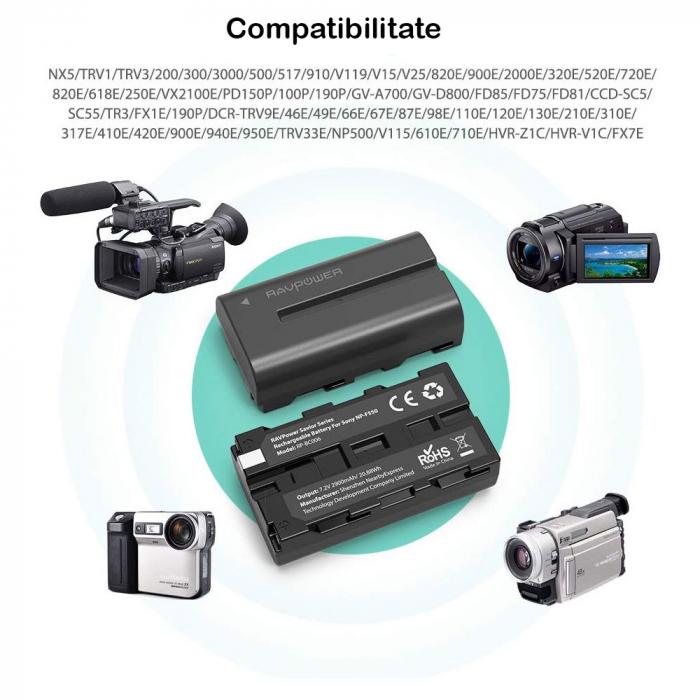Set 2 acumulatori NP-F550 cu incarcator RAVPower RP-BC006, pentru camere SONY CCD-RV100/RV200/Seria SC, Seria TR [4]