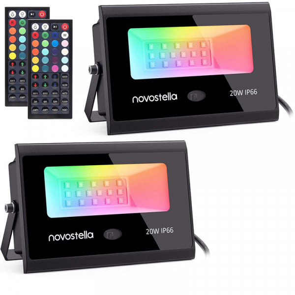 Set 2 proiectoare de podea LED RGB Novostella, Telecomanda , 20W, IP66 waterproof [0]