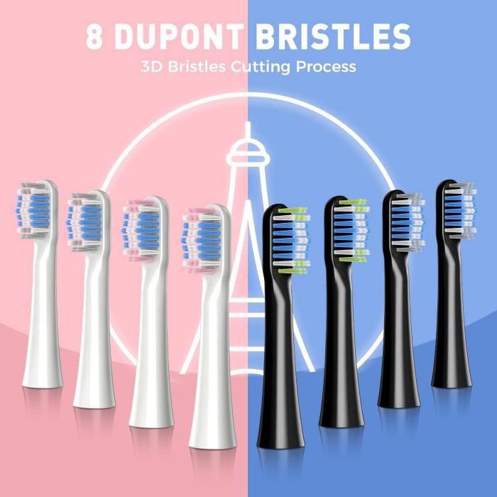Set 2 Periuta de dinti electrica ATMOKO AMHP142 cu 8 capete DuPont, 3D, 3 moduri, temporizator 2 min, 40000 pulsatii/min [8]