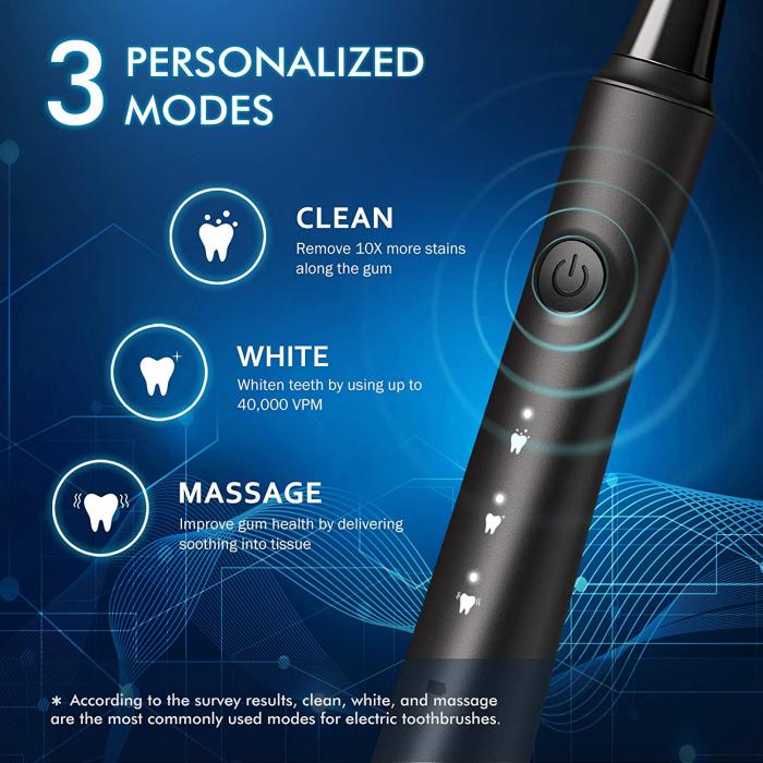 Periuta de dinti electrica ATMOKO AMHP141 cu 10 capete DuPont, 3D, 3 moduri, temporizator 2 min, 40000 pulsatii/min [6]
