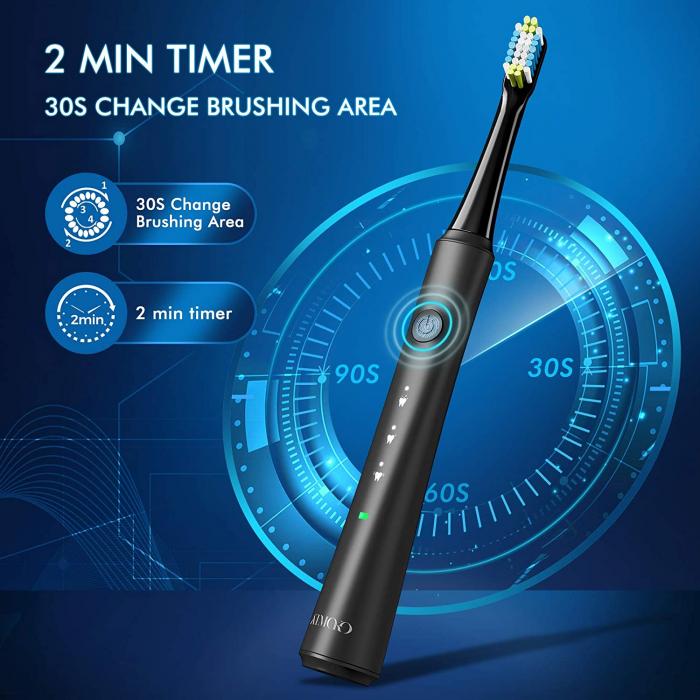 Periuta de dinti electrica ATMOKO AMHP141 cu 10 capete DuPont, 3D, 3 moduri, temporizator 2 min, 40000 pulsatii/min [3]