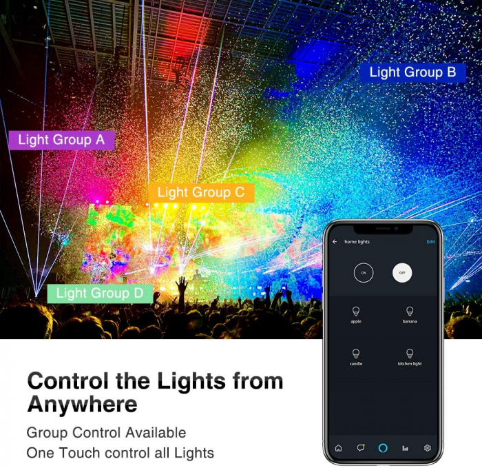 Proiectoare de podea LED RGB Novostella, Smart, Wifi, Alexa,Google , 100W, Exterior IP66 waterproof 7