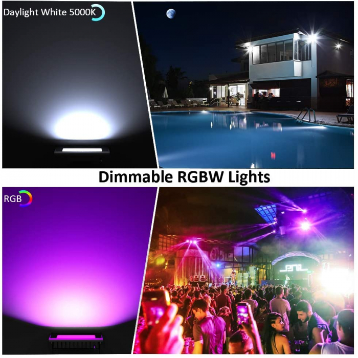Proiectoare de podea LED RGB Novostella, Smart, Wifi, Alexa,Google , 100W, Exterior IP66 waterproof 4