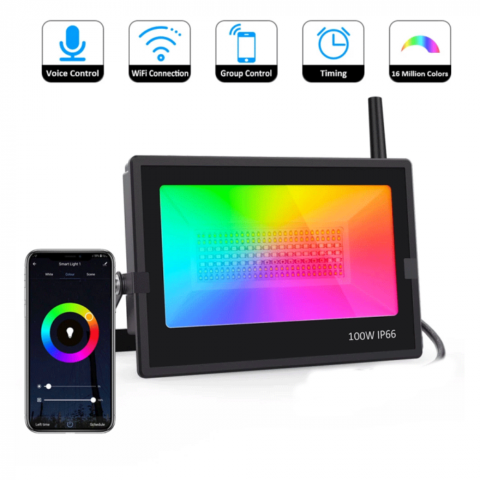 Proiectoare de podea LED RGB Novostella, Smart, Wifi, Alexa,Google , 100W, Exterior IP66 waterproof 1