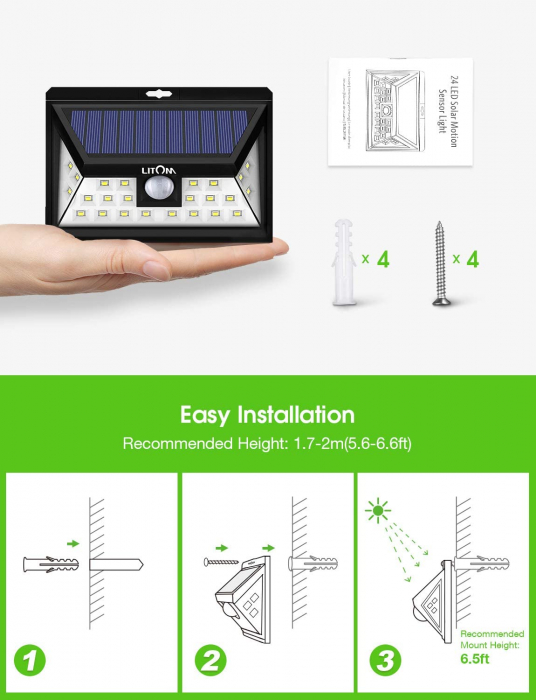 Set 4 lampi solare LITOM LTCD013, LED, 24 leduri, incarcare solara si senzor de miscare [1]