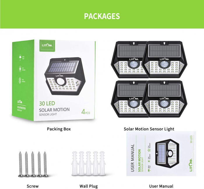Set 4 lampi solare LITOM LTCD179, LED, 30 leduri, incarcare solara si senzor de miscare [4]