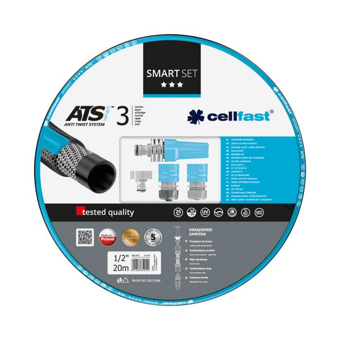 "Set furtun pentru gradina Cellfast SMART ATS3, 1/2"", Armat, 20m, protectie UV, antirasucire, duza stropire, conectori [0]"