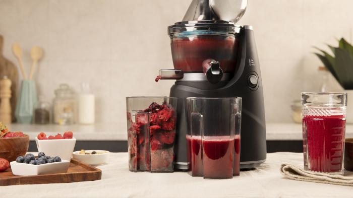 Storcator de fructe si legume cu melc Cecotec Juice&Live 1500 Pro, 250 W, Recipient suc, Recipient pulpa, Functie Reverse, Negru/Inox [6]