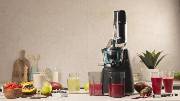Storcator de fructe si legume cu melc Cecotec Juice&Live 1500 Pro, 250 W, Recipient suc, Recipient pulpa, Functie Reverse, Negru/Inox - Resigilat [2]