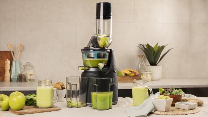 Storcator de fructe si legume cu melc Cecotec Juice&Live 1500 Pro, 250 W, Recipient suc, Recipient pulpa, Functie Reverse, Negru/Inox [3]