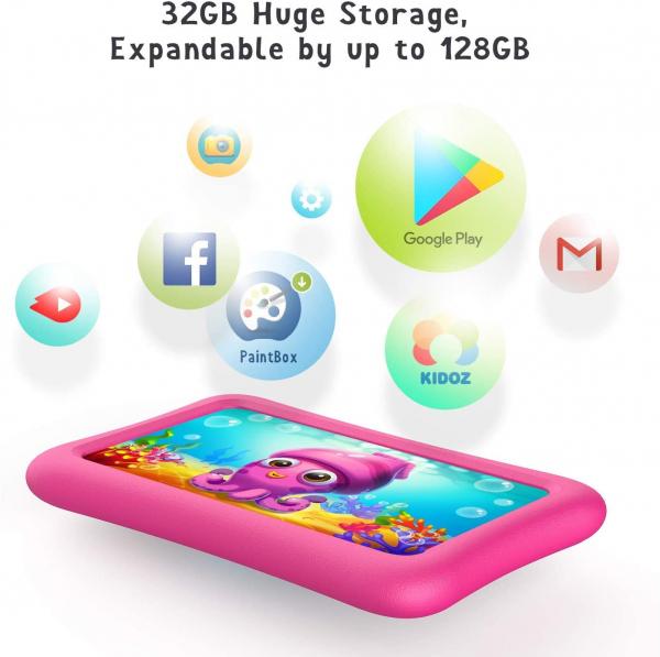 Tableta copii de 7 inch HD Vankyo Z1, Quad-Core Android 8.1 Oreo 1GB, 32GB - Roz 6