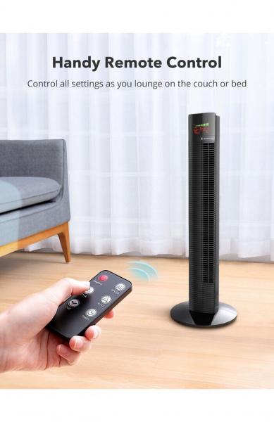 Ventilator turn TaoTronics TT-TF002, 60W, telecomanda, 3 viteze, display LED, silentios 2