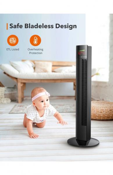 Ventilator turn TaoTronics TT-TF002, 60W, telecomanda, 3 viteze, display LED, silentios 3