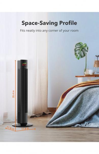 Ventilator turn TaoTronics TT-TF002, 60W, telecomanda, 3 viteze, display LED, silentios 4