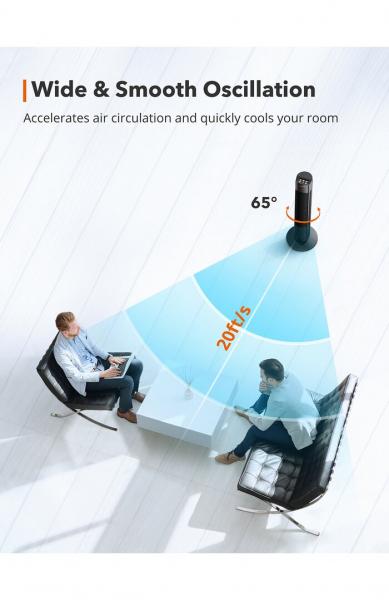 Ventilator turn TaoTronics TT-TF002, 60W, telecomanda, 3 viteze, display LED, silentios 5