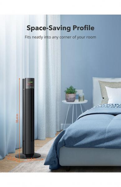 Ventilator turn TaoTronics TT-TF002, 60W, telecomanda, 3 viteze, display LED, silentios 6