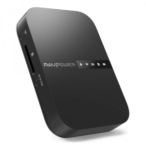 Router Wireless Portabil - Filehub RavPower RP-WD009 5 in 1, Cititor Carduri, Travel Router Backup, Baterie Externa 6700mAh0